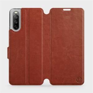 Flip pouzdro Mobiwear na mobil Sony Xperia 10 III v provedení C_BRP Brown&Orange s oranžovým vnitřkem