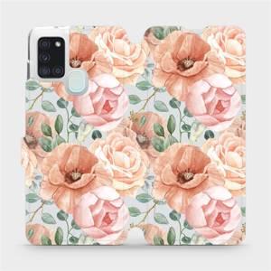 Flip pouzdro Mobiwear na mobil Samsung Galaxy A21S - MP02S Pastelové květy
