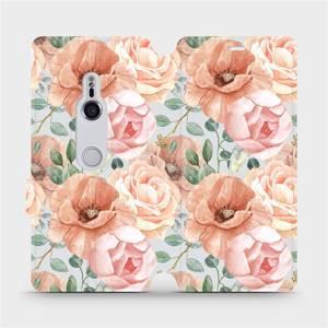 Flip pouzdro Mobiwear na mobil Sony Xperia XZ3 - MP02S Pastelové květy