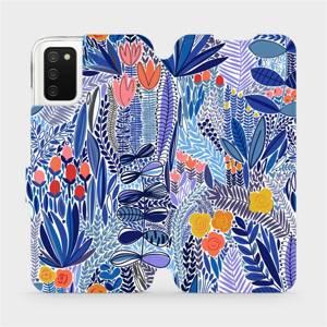 Flip pouzdro Mobiwear na mobil Samsung Galaxy A02S - MP03P Modrá květena