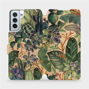 Flip pouzdro Mobiwear na mobil Samsung Galaxy S21 Plus - VP05S Sukulenty