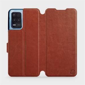 Flip pouzdro Mobiwear na mobil Realme 8 5G v provedení C_BRP Brown&Orange s oranžovým vnitřkem