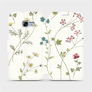Flipové pouzdro Mobiwear na mobil Samsung Galaxy A3 2017 - MD03S Tenké rostlinky s květy