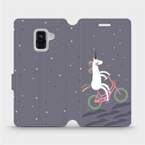 Flipové pouzdro Mobiwear na mobil Samsung Galaxy A8 2018 - V024P Jednorožec na kole