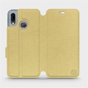 Flipové pouzdro Mobiwear na mobil Huawei P20 Lite v provedení C_GOS Gold&Gray s šedým vnitřkem