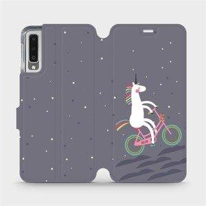 Flipové pouzdro Mobiwear na mobil Samsung Galaxy A7 2018 - V024P Jednorožec na kole