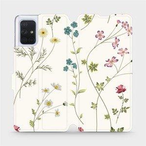 Flipové pouzdro Mobiwear na mobil Samsung Galaxy A71 - MD03S Tenké rostlinky s květy