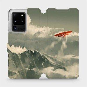 Flipové pouzdro Mobiwear na mobil Samsung Galaxy S20 Ultra - MA03P Oranžové letadlo v horách