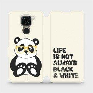 Flipové pouzdro Mobiwear na mobil Xiaomi Redmi Note 9 - M041S Panda - life is not always black and white