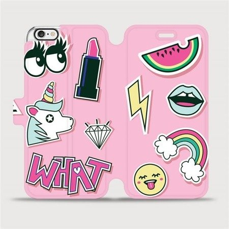 Flipové pouzdro Mobiwear na mobil Apple iPhone 6 / iPhone 6s - M129S Růžové WHAT