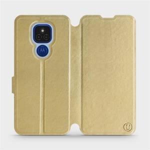 Flipové pouzdro Mobiwear na mobil Motorola Moto E7 Plus v provedení C_GOP Gold&Orange s oranžovým vnitřkem