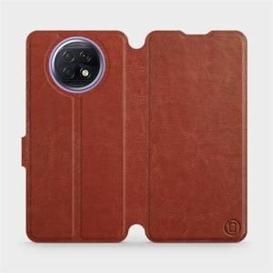 Flipové pouzdro Mobiwear na mobil Xiaomi Redmi Note 9T 5G v provedení C_BRP Brown&Orange s oranžovým vnitřkem