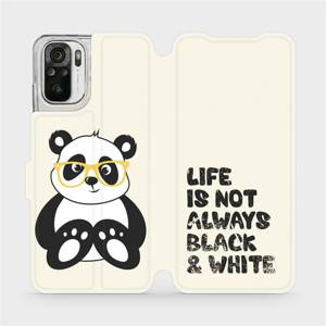 Flipové pouzdro Mobiwear na mobil Xiaomi Redmi Note 10 - M041S Panda - life is not always black and white