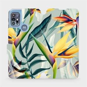 Flipové pouzdro Mobiwear na mobil Motorola Moto G20 - MC02S Žluté velké květy a zelené listy