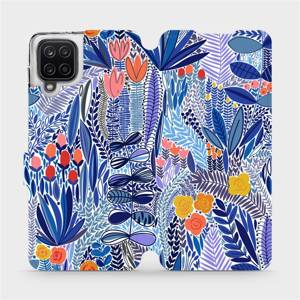 Flip pouzdro Mobiwear na mobil Samsung Galaxy A12 - MP03P Modrá květena