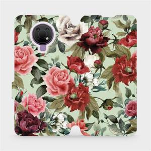 Flip pouzdro Mobiwear na mobil Nokia G10 - MD06P Růže a květy na světle zeleném pozadí