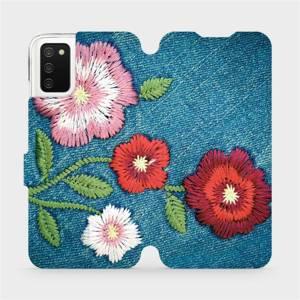 Flip pouzdro Mobiwear na mobil Samsung Galaxy A03s - MD05P Džínové květy