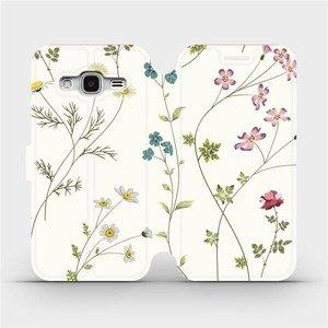 Flipové pouzdro Mobiwear na mobil Samsung Galaxy J3 2016 - MD03S Tenké rostlinky s květy