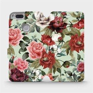 Flipové pouzdro Mobiwear na mobil Xiaomi Mi A1 - MD06P Růže a květy na světle zeleném pozadí