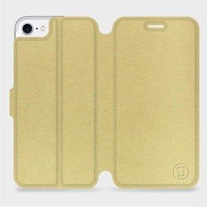 Flipové pouzdro Mobiwear na mobil Apple iPhone SE 2020 v provedení C_GOP Gold&Orange s oranžovým vnitřkem