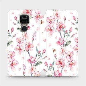Flipové pouzdro Mobiwear na mobil Xiaomi Redmi Note 9 - M124S Růžové květy