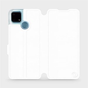 Flip pouzdro Mobiwear na mobil Realme 7i v provedení C_WHS White&Gray s šedým vnitřkem