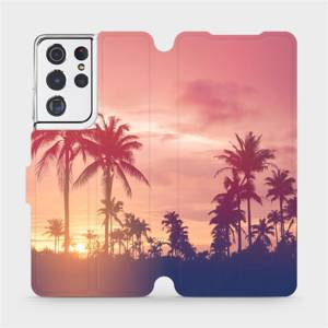 Flipové pouzdro Mobiwear na mobil Samsung Galaxy S21 Ultra 5G - M134P Palmy a růžová obloha