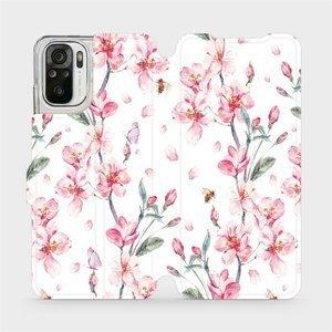 Flipové pouzdro Mobiwear na mobil Xiaomi Redmi Note 10 - M124S Růžové květy