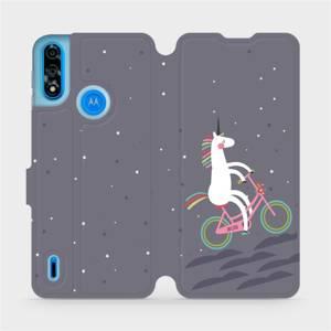 Flipové pouzdro Mobiwear na mobil Motorola Moto E7 Power - V024P Jednorožec na kole