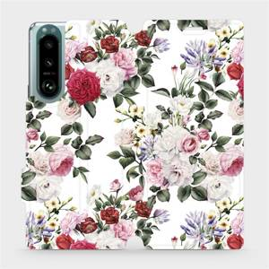 Flip pouzdro Mobiwear na mobil Sony Xperia 5 III - MD01S Růže na bílé