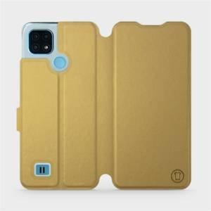 Flip pouzdro Mobiwear na mobil Realme C21 v provedení C_GOS Gold&Gray s šedým vnitřkem