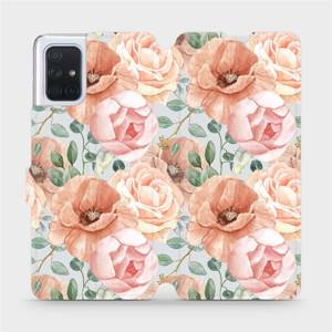 Flip pouzdro Mobiwear na mobil Samsung Galaxy A71 - MP02S Pastelové květy