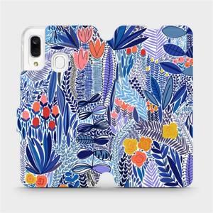 Flip pouzdro Mobiwear na mobil Samsung Galaxy A40 - MP03P Modrá květena