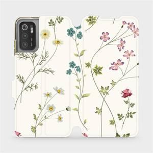 Flip pouzdro Mobiwear na mobil Xiaomi Poco M3 Pro 5G - MD03S Tenké rostlinky s květy