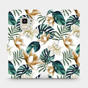Flipové pouzdro Mobiwear na mobil Samsung Galaxy J6 2018 - MC07P Zlatavé květy a zelené listy