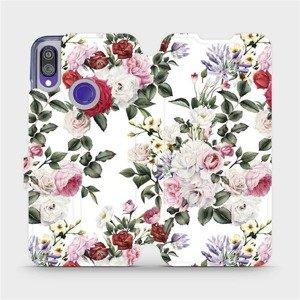Flipové pouzdro Mobiwear na mobil Xiaomi Redmi Note 7 - MD01S Růže na bílé