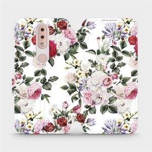 Flipové pouzdro Mobiwear na mobil Nokia 4.2 - MD01S Růže na bílé