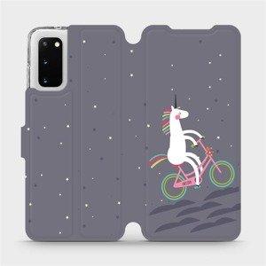 Flipové pouzdro Mobiwear na mobil Samsung Galaxy S20 - V024P Jednorožec na kole