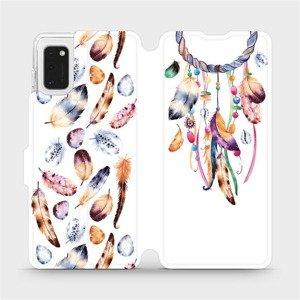 Flipové pouzdro Mobiwear na mobil Samsung Galaxy A41 - M003S Lapač a barevná pírka