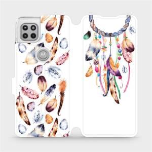 Flipové pouzdro Mobiwear na mobil Motorola Moto G 5G - M003S Lapač a barevná pírka