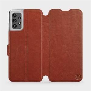 Flip pouzdro Mobiwear na mobil Samsung Galaxy A32 LTE v provedení C_BRP Brown&Orange s oranžovým vnitřkem