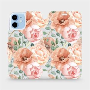 Flip pouzdro Mobiwear na mobil Apple iPhone 12 Mini - MP02S Pastelové květy
