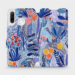 Flip pouzdro Mobiwear na mobil Huawei P30 Lite - MP03P Modrá květena