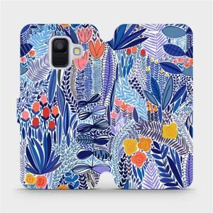 Flip pouzdro Mobiwear na mobil Samsung Galaxy A6 2018 - MP03P Modrá květena
