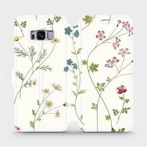 Flipové pouzdro Mobiwear na mobil Samsung Galaxy S8 - MD03S Tenké rostlinky s květy