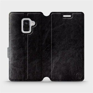 Parádní flip pouzdro Mobiwear na mobil Samsung Galaxy A8 2018 v provedení C_BLS Black&Gray s šedým vnitřkem