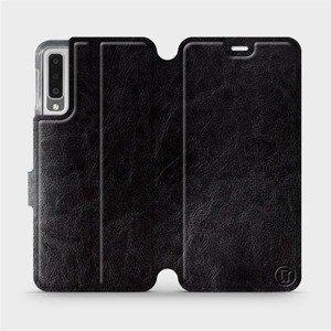Flipové pouzdro Mobiwear na mobil Samsung Galaxy A7 2018 v provedení C_BLS Black&Gray s šedým vnitřkem