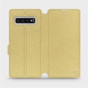 Flipové pouzdro Mobiwear na mobil Samsung Galaxy S10 Plus v provedení C_GOS Gold&Gray s šedým vnitřkem