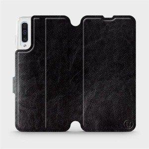 Flipové pouzdro Mobiwear na mobil Samsung Galaxy A50 v provedení C_BLS Black&Gray s šedým vnitřkem