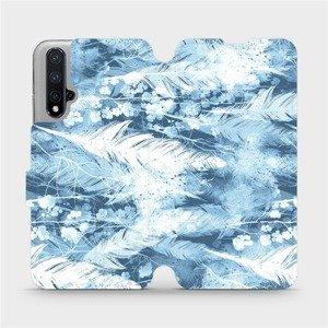 Flipové pouzdro Mobiwear na mobil Honor 20 - M058S Světle modrá horizontální pírka
